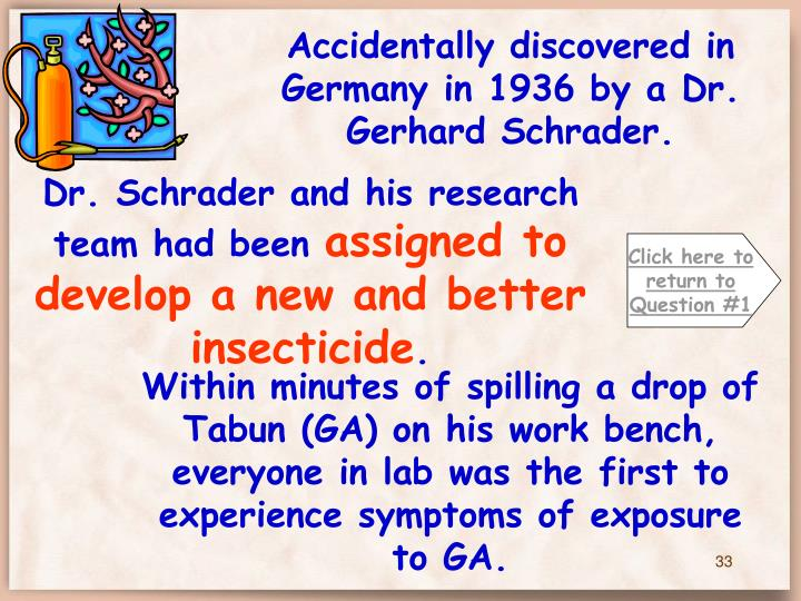Accidentally discovered in Germany in 1936 by a Dr. Gerhard Schrader.