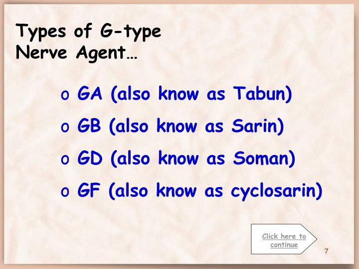Types of G-type Nerve Agent…