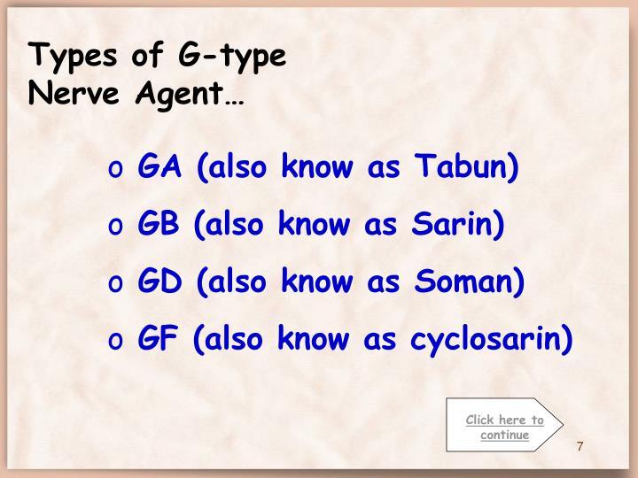 Types of G-type Nerve Agent…