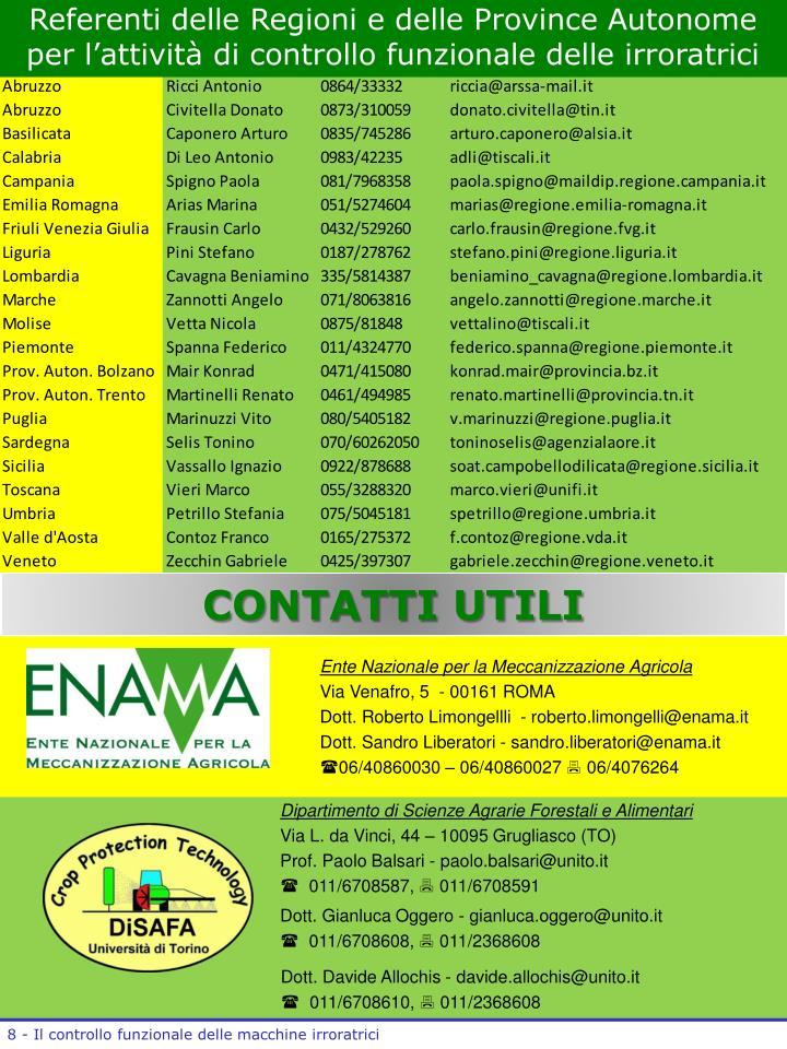 Referenti delle Regioni e delle Province Autonome per l'attività di controllo funzionale delle irroratrici