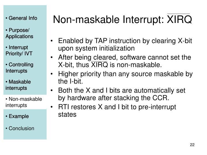 Non-maskable Interrupt: XIRQ