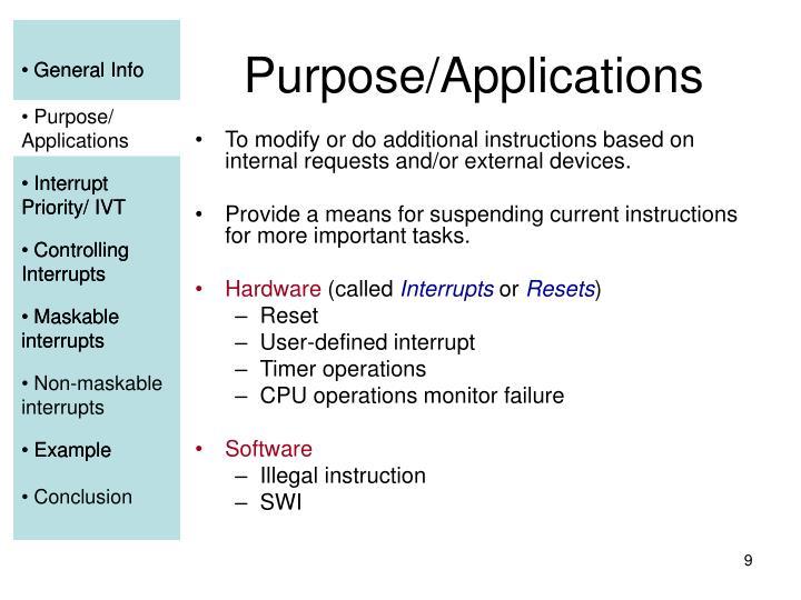 Purpose/Applications