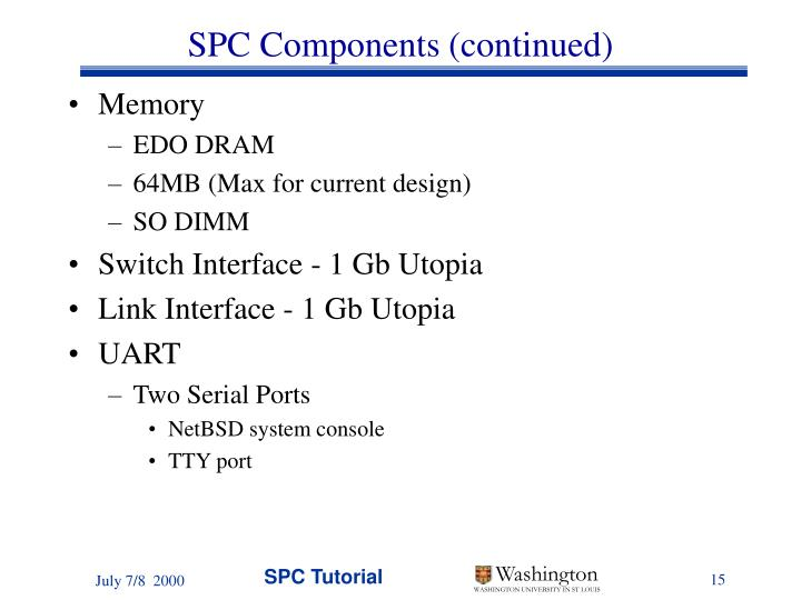 SPC Components (continued)