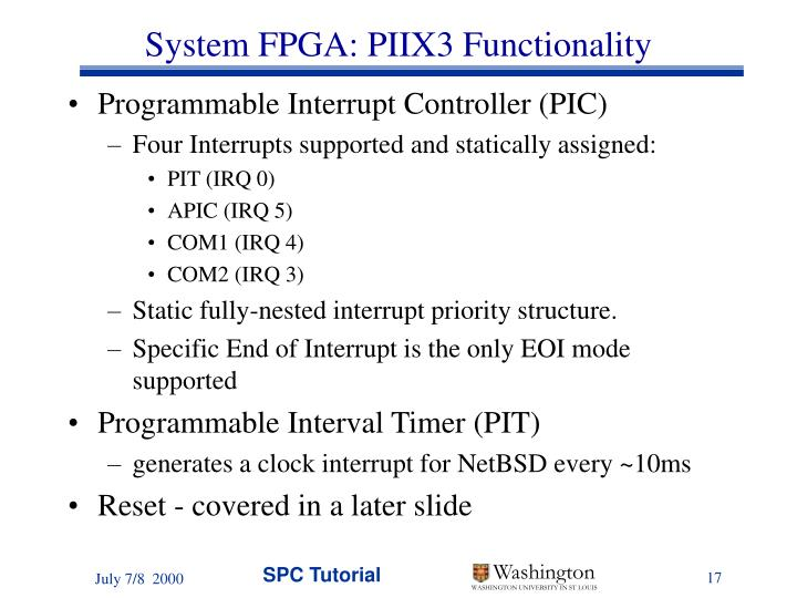 System FPGA: PIIX3 Functionality
