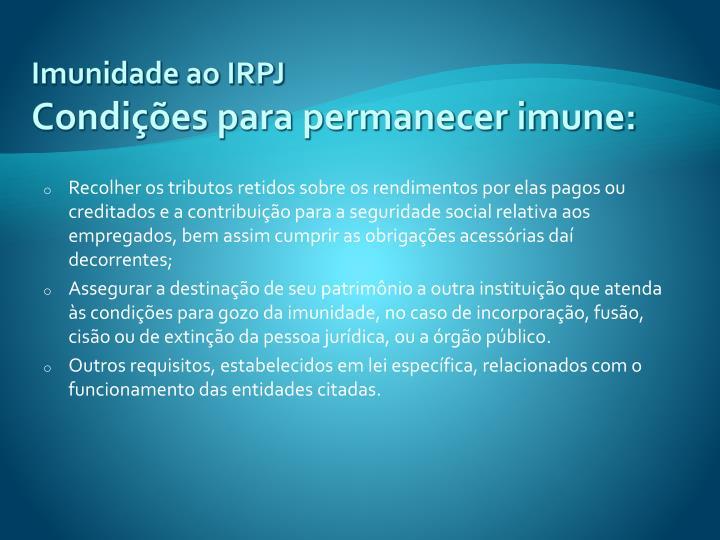 Imunidade ao IRPJ