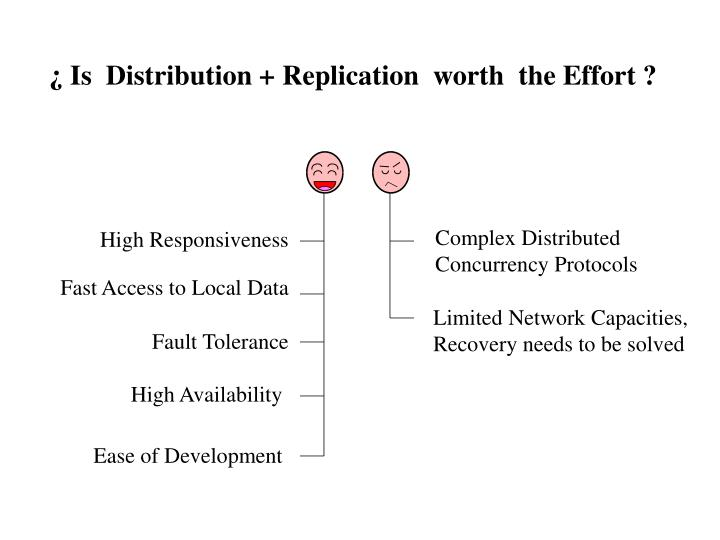 ¿ Is  Distribution + Replication  worth  the Effort ?