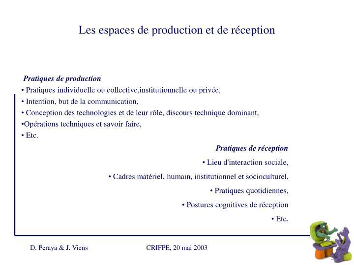 Les espaces de production et de réception