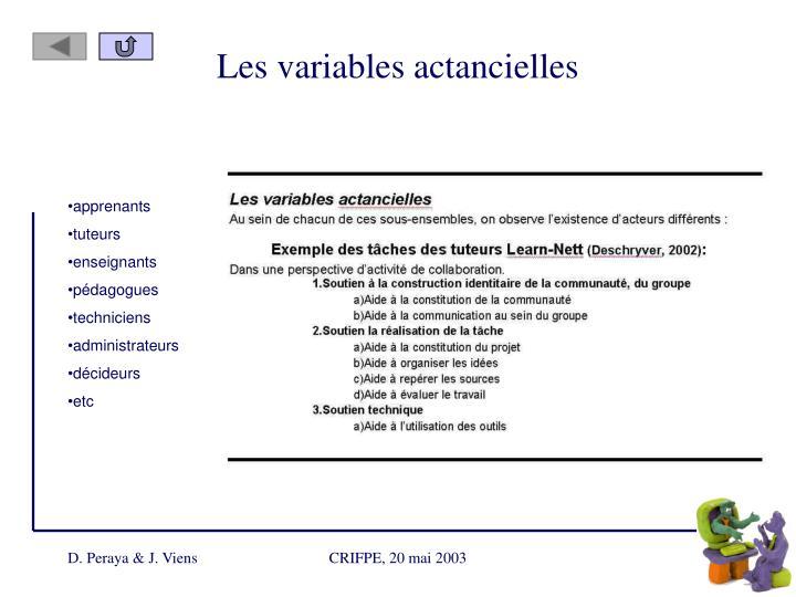 Les variables actancielles
