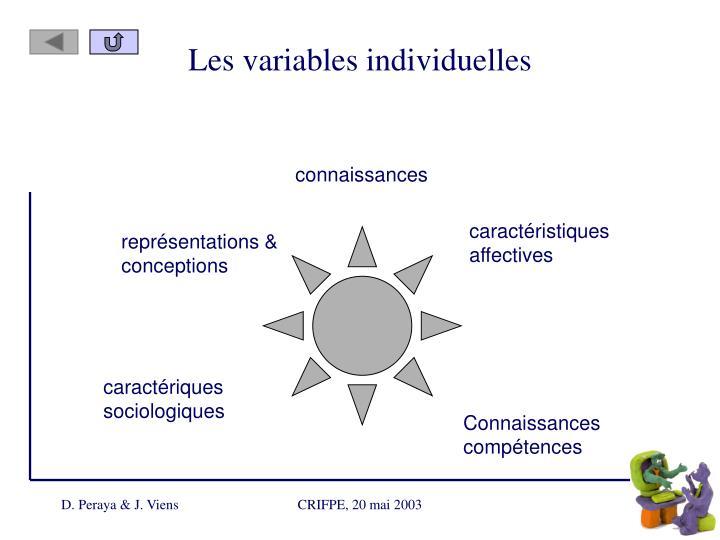 Les variables individuelles
