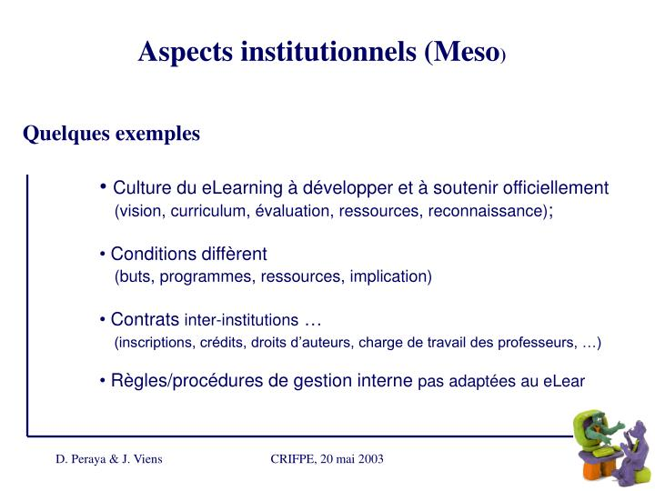 Aspects institutionnels (Meso