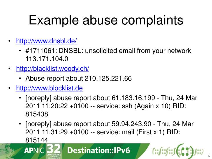 Example abuse complaints