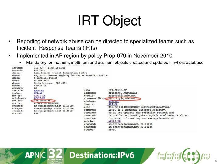 IRT Object