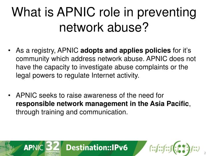 What is apnic role in preventing network abuse