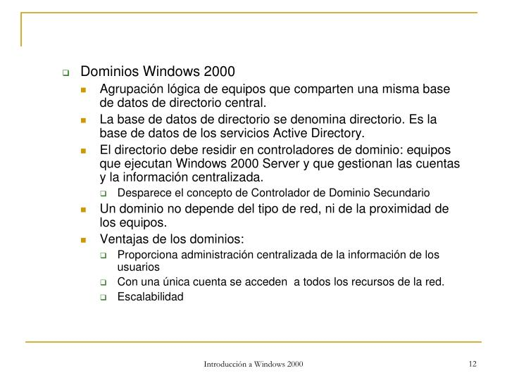 Dominios Windows 2000