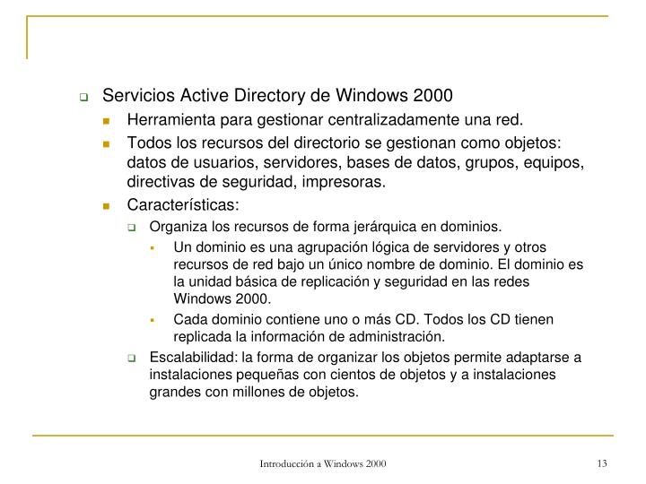 Servicios Active Directory de Windows 2000