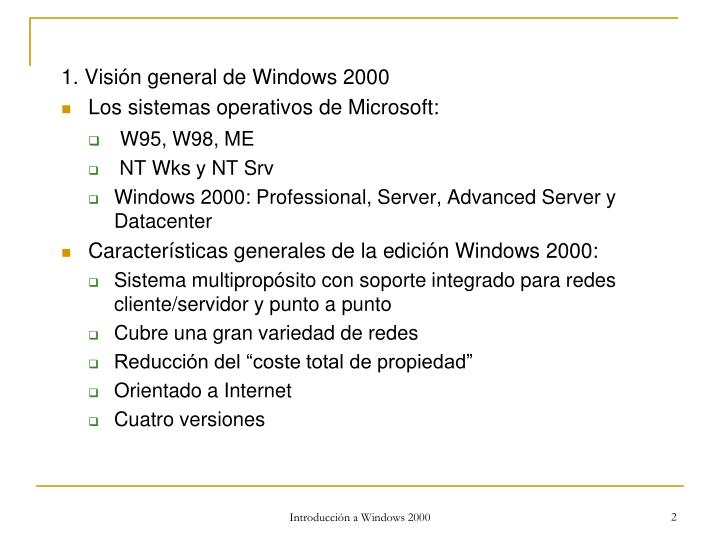 1. Visión general de Windows 2000