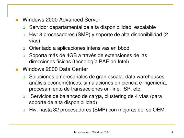 Windows 2000 Advanced Server: