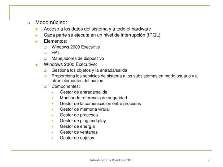 Modo núcleo: