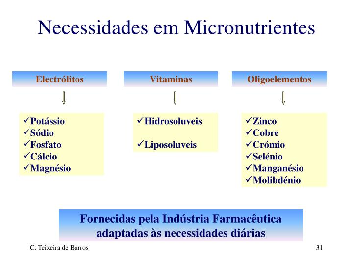 Necessidades em Micronutrientes