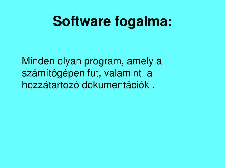 Software fogalma: