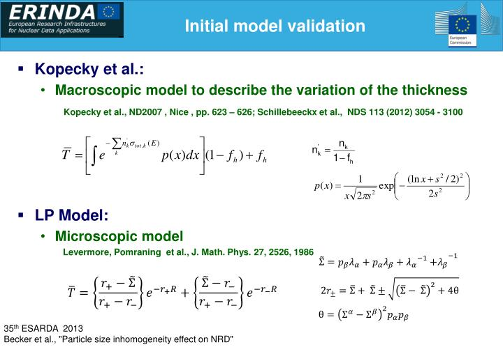 Initial model validation
