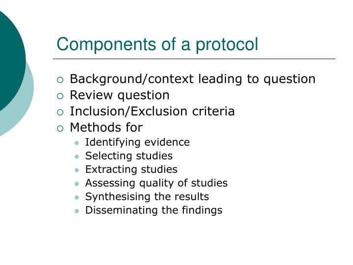 Components of a protocol