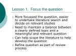 lesson 1 focus the question