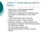 lesson 7 know what you want to find out