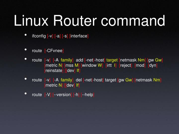 Linux Router command