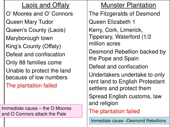 Immediate cause – the O Moores and O Connors attack the Pale