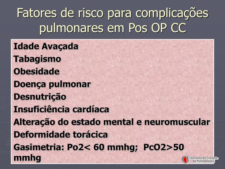 Fatores de risco para complicações pulmonares em Pos OP CC