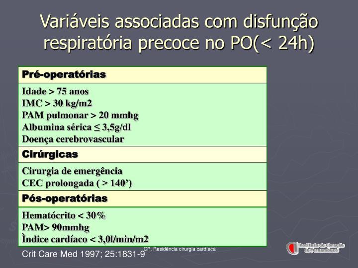 Variáveis associadas com disfunção respiratória precoce no PO(< 24h)