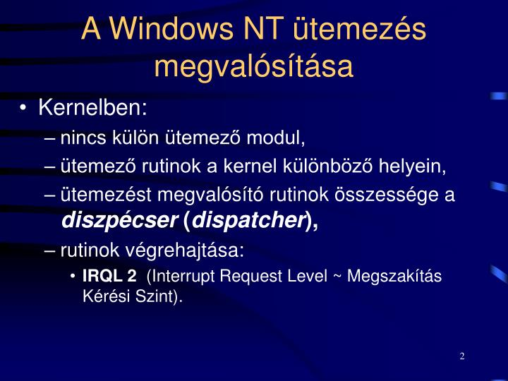 A windows nt temez s megval s t sa