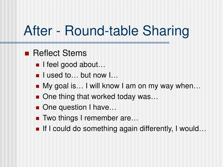 After - Round-table Sharing