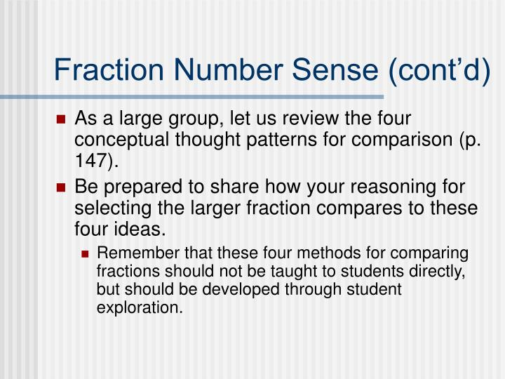 Fraction Number Sense (cont'd)