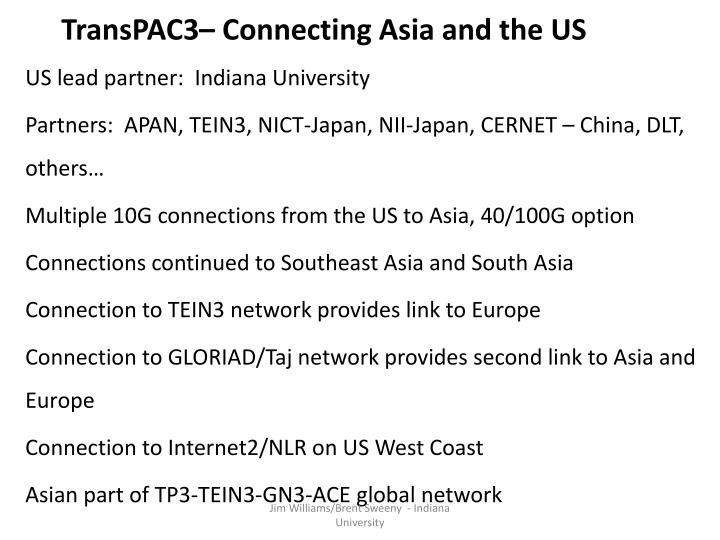 TransPAC3– Connecting Asia and the US