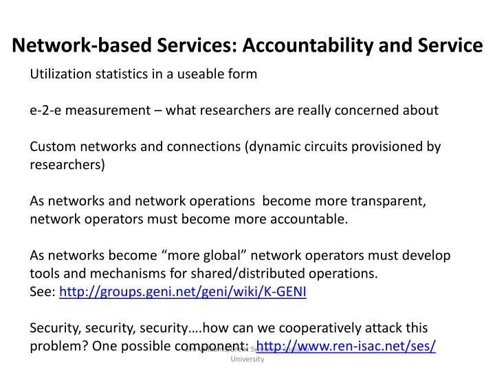 Network-based Services: Accountability and