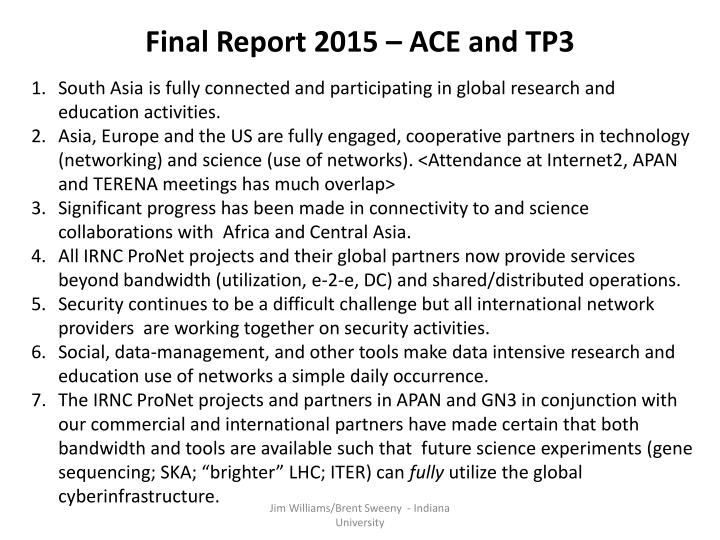 Final Report 2015 – ACE and TP3