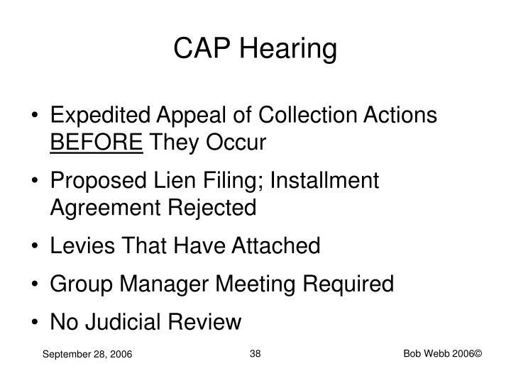 CAP Hearing