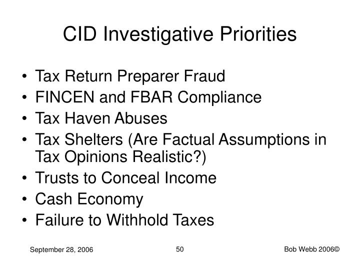 CID Investigative Priorities