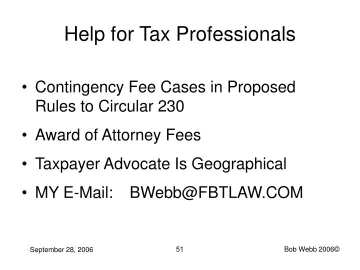 Help for Tax Professionals