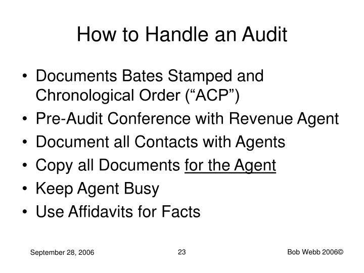 How to Handle an Audit