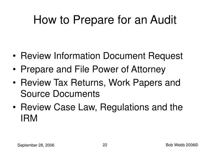 How to Prepare for an Audit