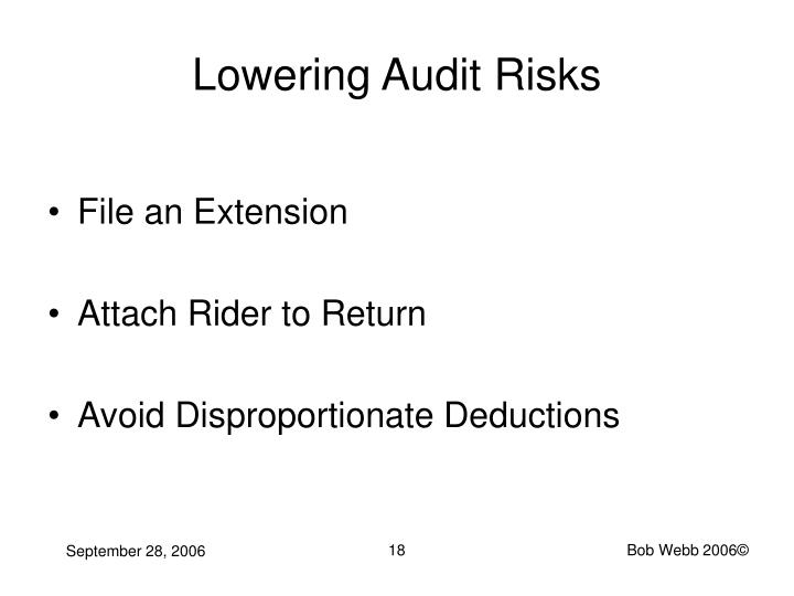 Lowering Audit Risks