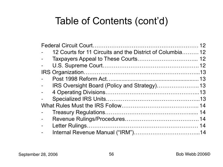 Table of Contents (cont'd)