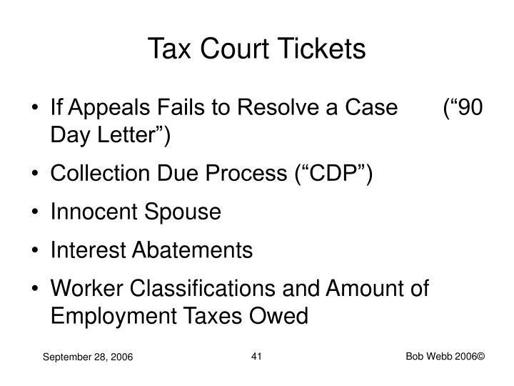 Tax Court Tickets