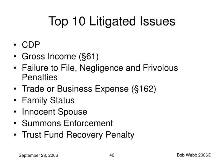 Top 10 Litigated Issues