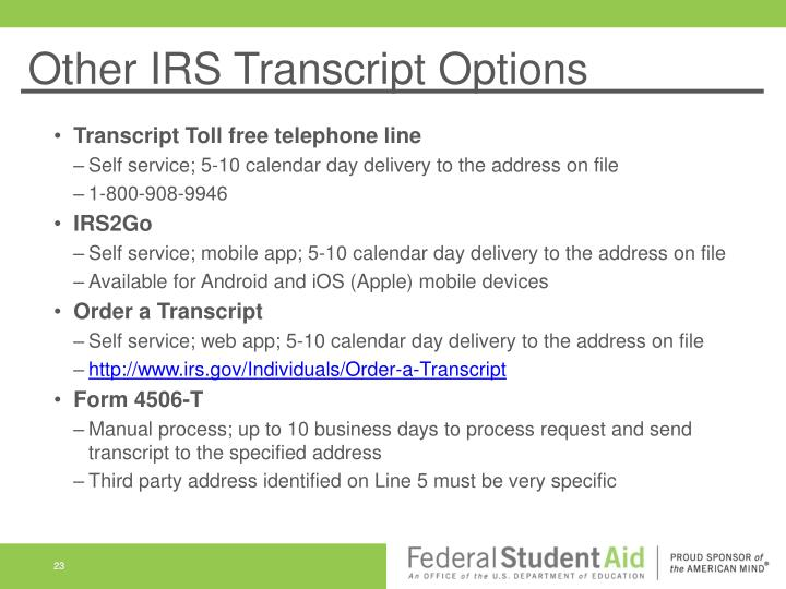 Other IRS Transcript Options