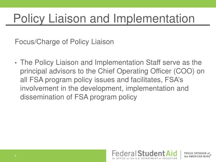 Policy Liaison and Implementation