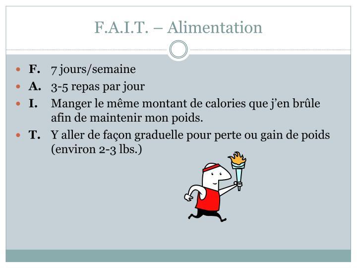 F.A.I.T. – Alimentation